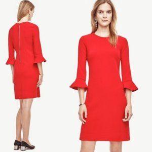 ANN TAYLOR Women's Red Bell Fluted Sleeve Dress 4